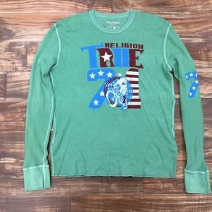 New True Religion 71Green Waffle Thermal Tshirt